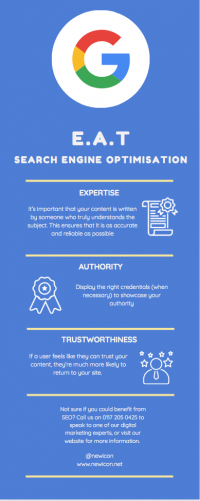 EAT: Expertise, Authority, Trust infographic by Newicon