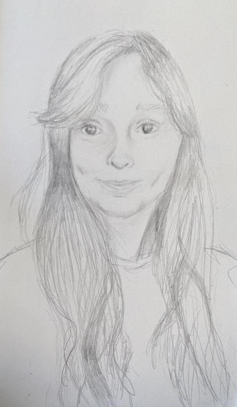 A self portrait in pencil by Tiegan.