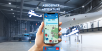 The aerospace adventure app on the screen of a smartphone, designed by Newicon for Aerospace Bristol