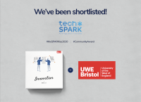 An image describing how Newicon have been shortlisted for a SPARKie Award because of their work on an Innovation Toolkit